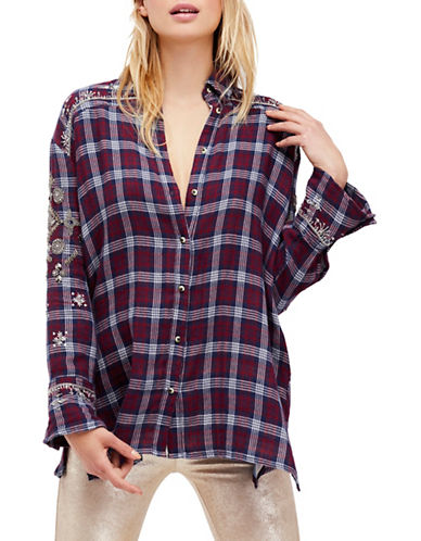 Free People Downtown Romance Cotton Button-Down Shirt-RED-Medium