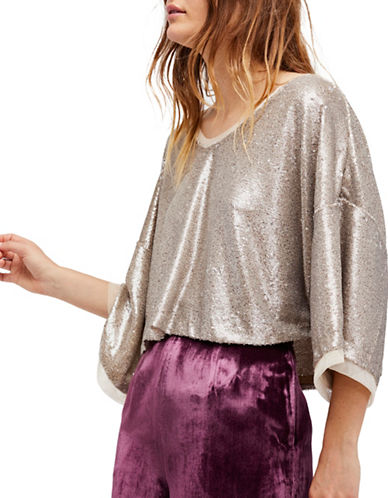 Free People Champagne Dreams Sequin Tee-NATURAL-Small