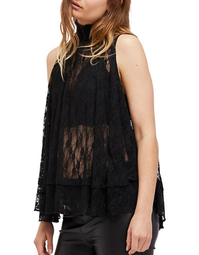 Free People Myrna Lace Tunic Top-BLACK-Medium