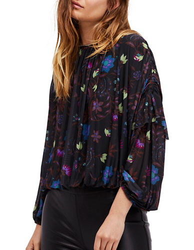 Free People Wild Flower Honey Top-BLACK-X-Small