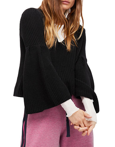 Free People Damsel Chunky Knit Pullover-BLACK-Large