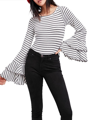Free People Good Find Striped Top-GREY/WHITE-Medium