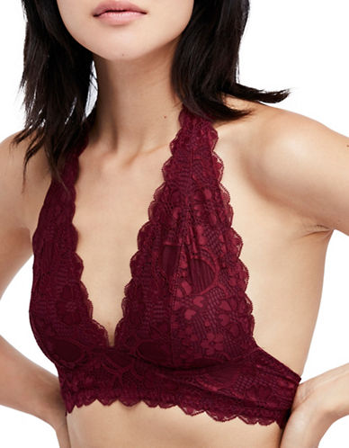 Free People Galloon Lace Halter-WINE-Small