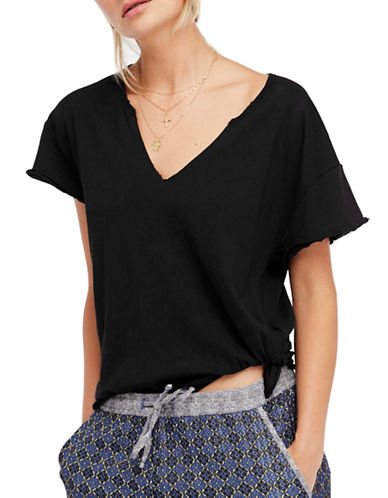 Free People Side Tie V-Neck Tee-BLACK-X-Small 89682324_BLACK_X-Small