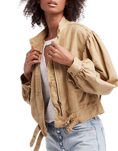 Free People Poet Puff Sleeve Jacket-BEIGE-Large