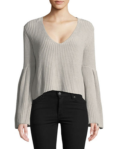 Free People Damsel Cotton Cropped Pullover-GREY-Large