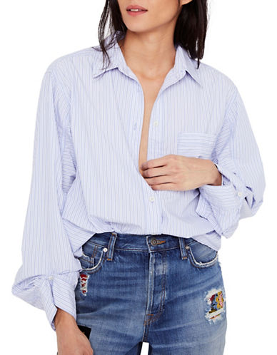Free People Tie-It-In-A-Bow Button-Down Shirt-BLUE-Medium