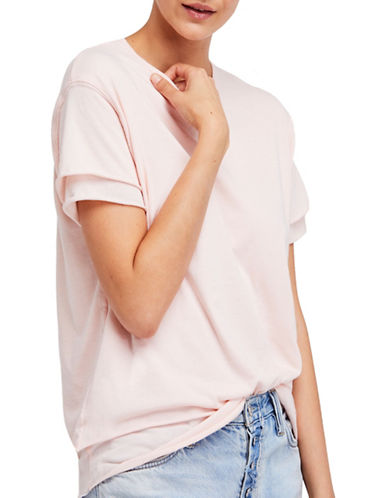 Free People Cloud 9 Layered Tee-PINK-X-Small 89943034_PINK_X-Small
