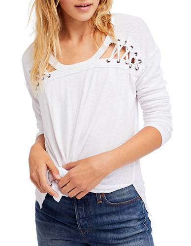 Free People First Love Scoop Neck Top-WHITE-Large