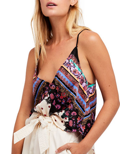 Free People Run Around Printed Camisole-IVORY-X-Small