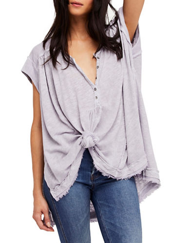 Free People Aster V-Neck Henley-LILAC-Medium