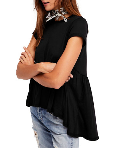 Free People Its Yours Hi-Lo Tee-BLACK-Small