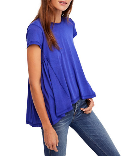 Free People Its Yours Hi-Lo Tee-BLUE-Medium