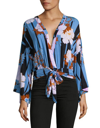 Free People Floral-Print Wrap Top-MULTI-Large