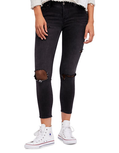Free People Fishnet Skinny Jeans-BLACK-31