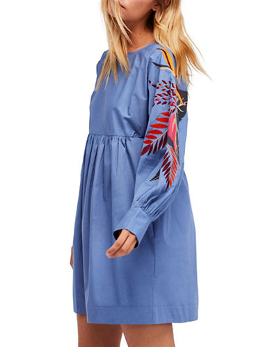 Free People Obsessions Mini Dress-BLUE-Large