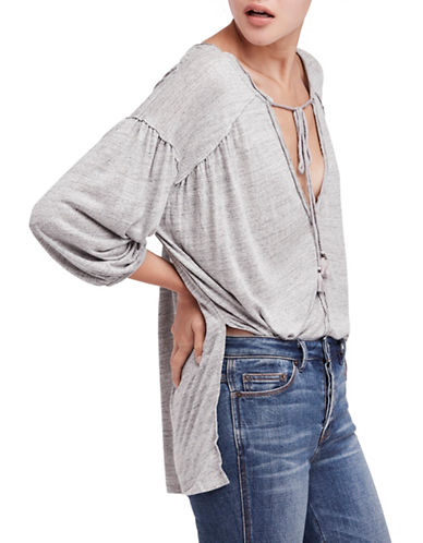 Free People Just A Henley Linen-Blend Top-GREY-X-Small