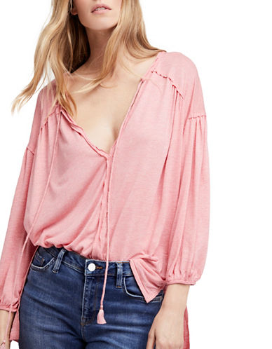 Free People Just A Henley Linen-Blend Top-PINK-Large
