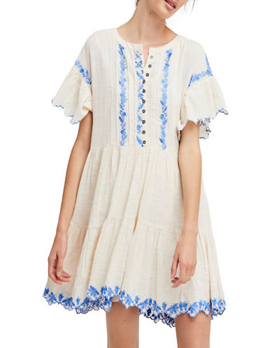 Free People Santiago Embroidered Mini Dress-IVORY-Medium