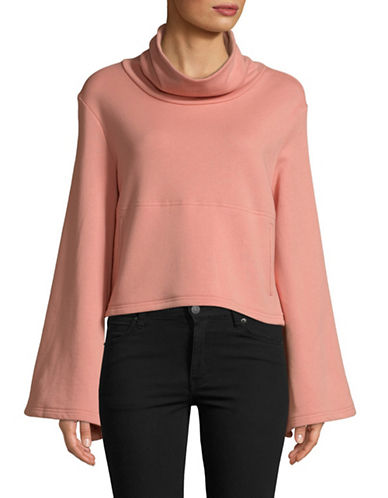Free People Salvation Turtleneck Cotton Top-PEACH-Medium