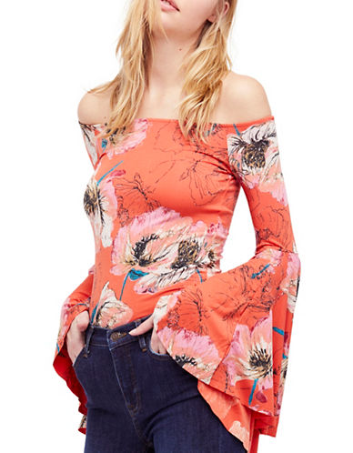 Free People Birds of Paradise Bell Sleeve Top-NAVY-Small