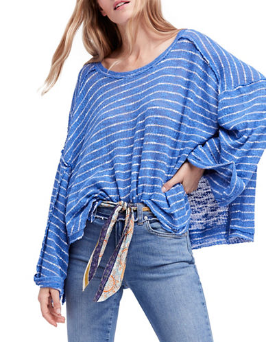 Free People Striped Island Girl Hacci Cotton Tee-BLUE-Small