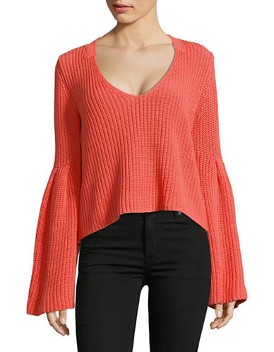 Free People Damsel Cotton Cropped Pullover-CORAL-Large