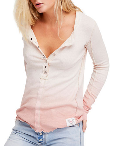 Free People Cozy Up Linen-Blend Henley Shirt-PINK-Medium
