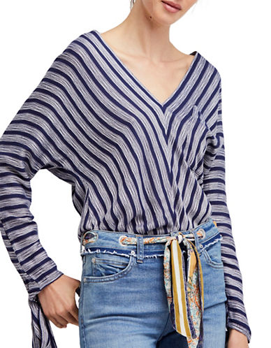 Free People Morning Striped Dolman Top-BLUE-Small