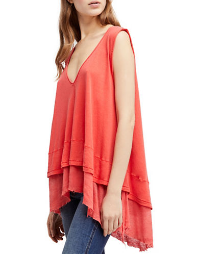 Free People Peachy Oversized Cotton Tee-RED-Large