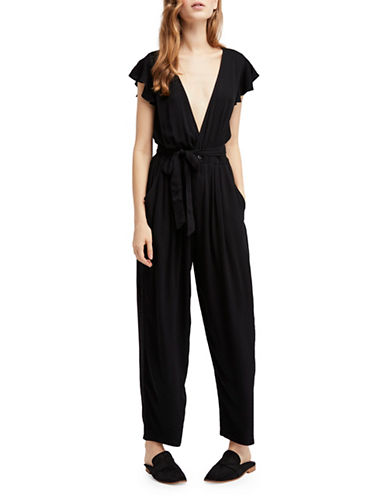 Free People Ruffle Your Feathers One Piece Jumpsuit-BLACK-Large