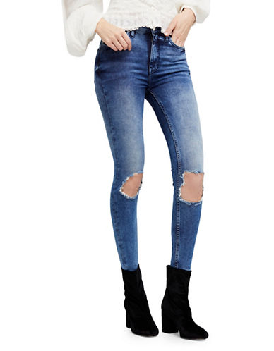 Free People Ripped High Rise Skinny Jeans-BLUE-30