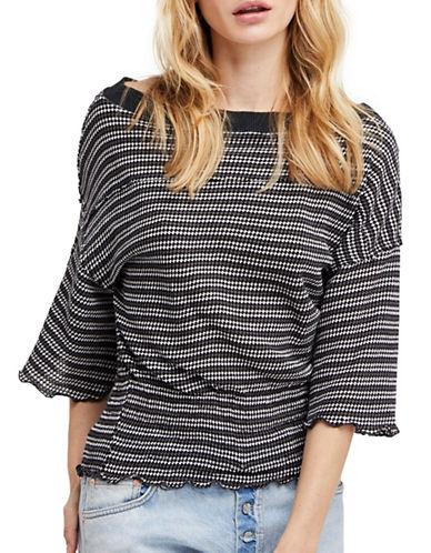 Free People Ebony Stripe Bell-Sleeve Tee-BLACK-Medium