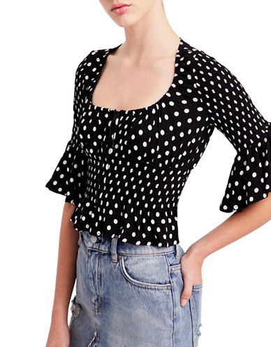 Free People A Bit of Something Sweet Blouse-BLACK-Medium