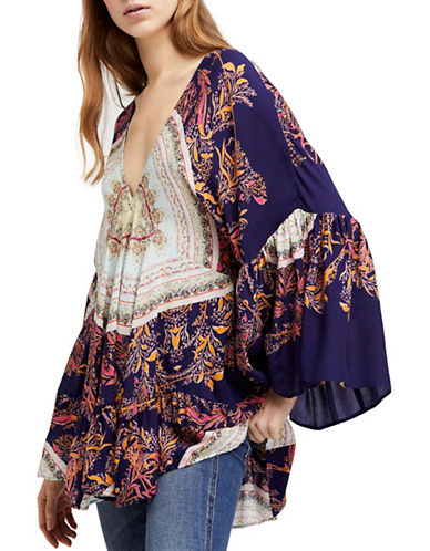 Free People Sunset Dreams Printed Oversized Top-BLUE-X-Small