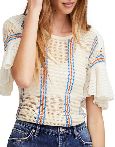 Free People Babes Only Striped Ruffle Tee-IVORY-Large