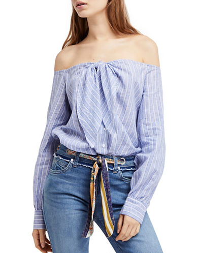 Free People Hello There Beautiful Off-The-Shoulder Top-BLUE-Large