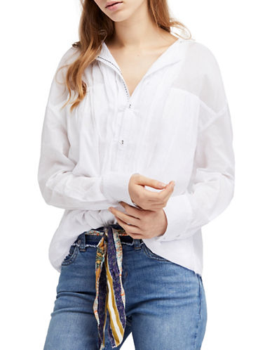 Free People Breezy Buttondown Cotton Blouse-WHITE-Large