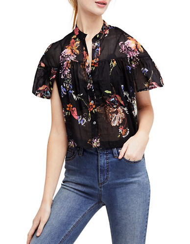 Free People Sweet Escape Cotton Button-Down Top-BLACK-Small
