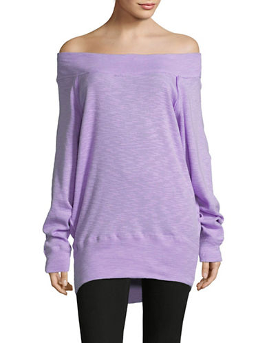 Free People Off-The-Shoulder Sweatshirt-LILAC-Large