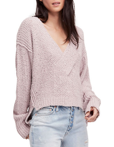Free People Coco V-Neck Cotton Sweater-PURPLE-Large