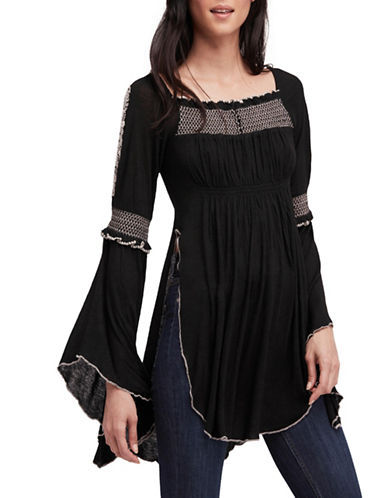 Free People Valley Bell-Sleeve Top-BLACK-Large