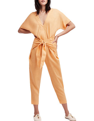 Free People Shining Sun Jumpsuit-ORANGE-X-Small