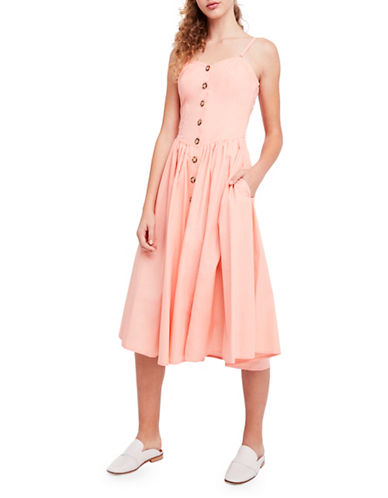 Free People Perfect Peach Cotton Poplin Midi Dress-PEACH-Medium