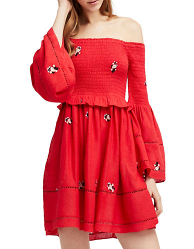 Free People Counting Daisies Embroidered Bell-Sleeve Mini Dress-RED-Medium