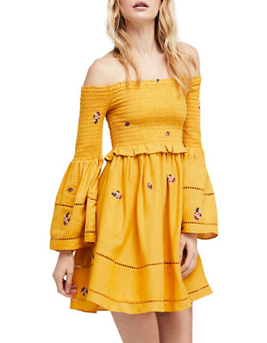 Free People Counting Daisies Embroidered Bell-Sleeve Mini Dress-YELLOW-Large