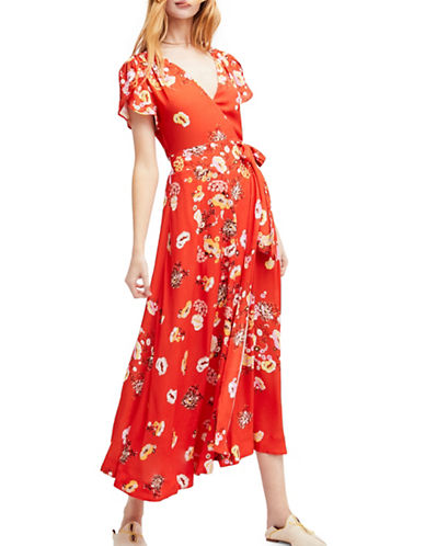 Free People Gorgeous Jess Wrap Maxi Dress-RED-Medium