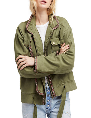 Free People Flight Line Cotton Bomber Jacket-MOSS-Large