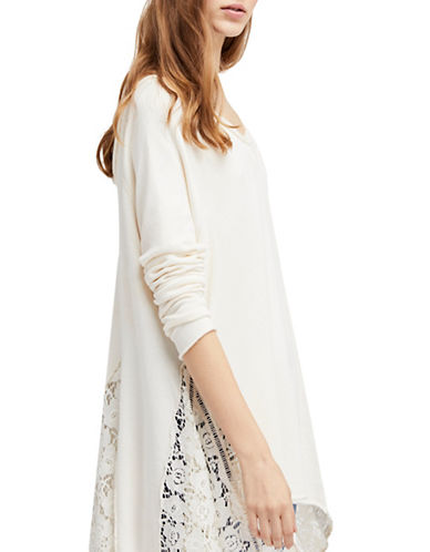 Free People No Frills Oversized Cotton Sweater-IVORY-Large