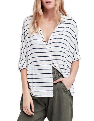 Free People Cant Fool Me Striped Tee-IVORY-Large
